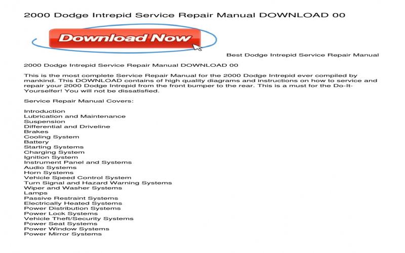 2000 Dodge Intrepid Owners Manual