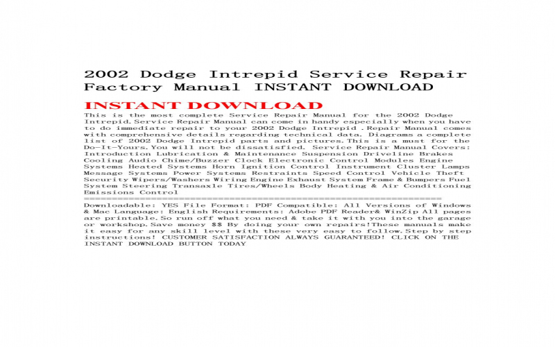2002 Dodge Intrepid Owners Manual Pdf