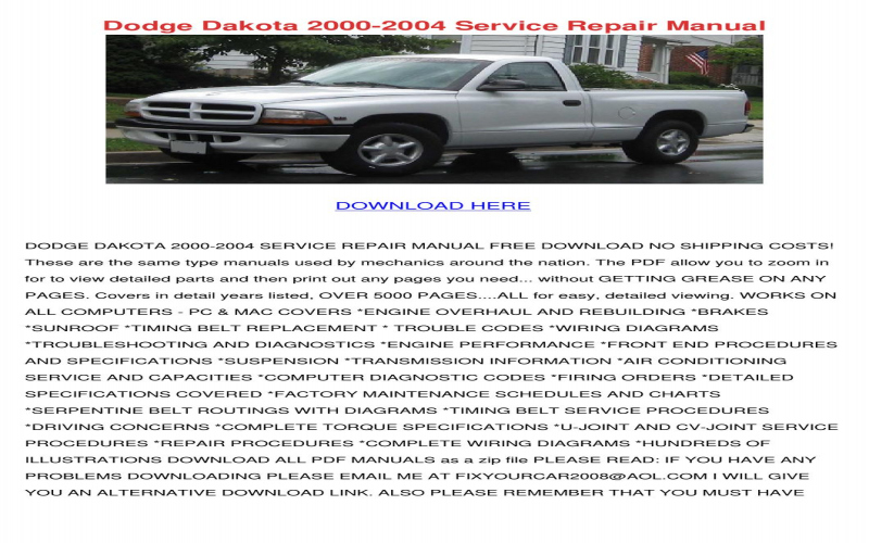 2004 Dodge Dakota Service Manual Free