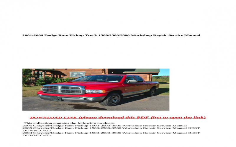 2004 Dodge Ram 2500 Owners Manual Pdf