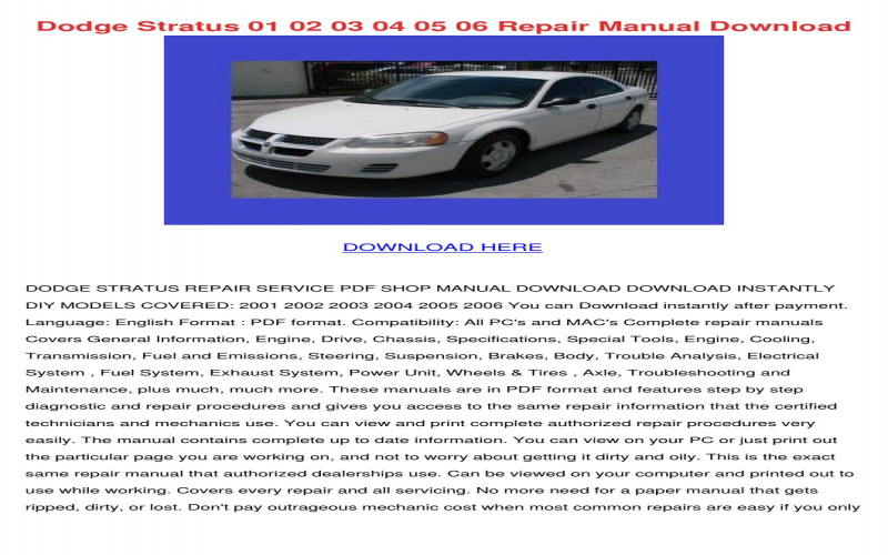 2004 Dodge Stratus Sedan Owners Manual Pdf