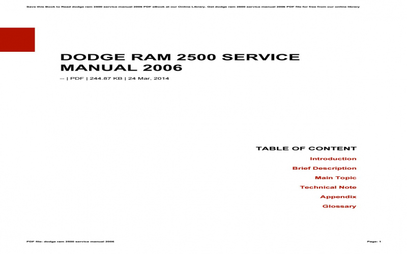 2006 Dodge Ram 2500 Service Manual Pdf