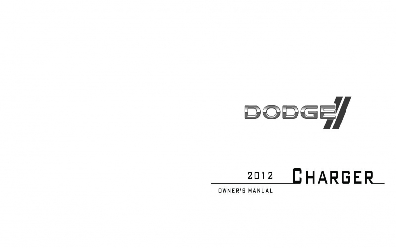 2012 Dodge Charger R T Owners Manual