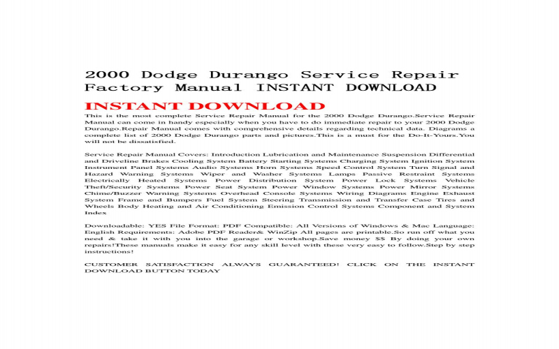 Owners Manual For A 2000 Dodge Durango