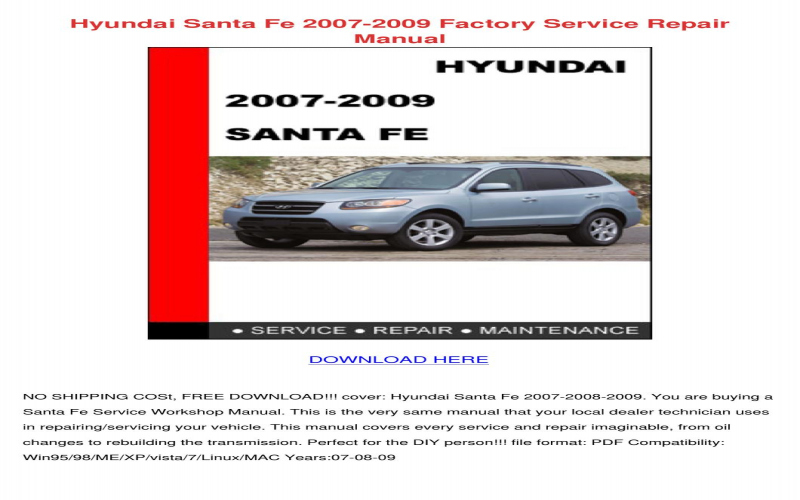 2001 Hyundai Santa Fe Owners Manual Pdf