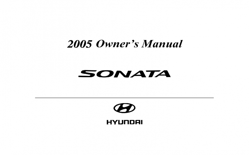 2005 Hyundai Sonata Owners Manual