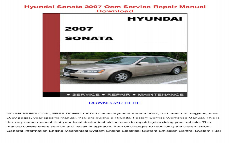 2007 Hyundai Sonata Owners Manual Pdf