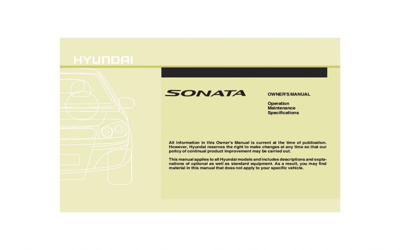 2009 Hyundai Sonata Gls Owners Manual