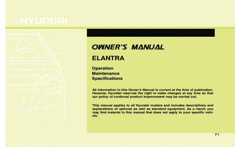 2010 Hyundai Elantra Owners Manual Download