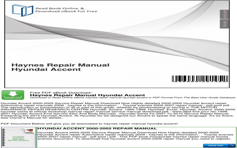 Hyundai Accent Owners Manual Pdf