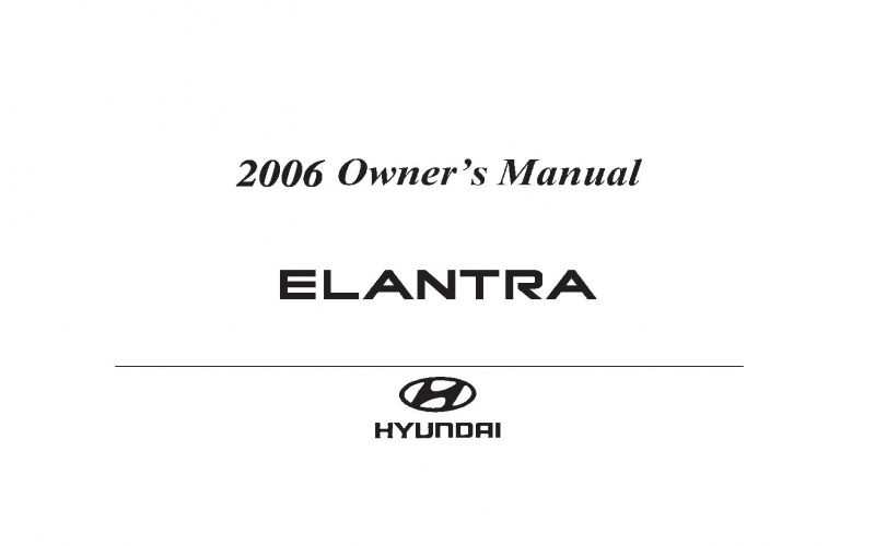 Owners Manual For 2006 Hyundai Elantra