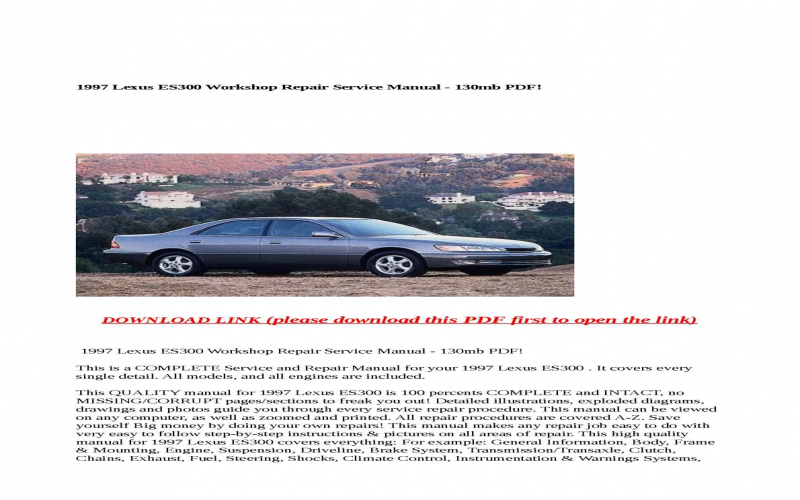 1997 Lexus Es300 Owners Manual Pdf
