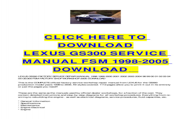 1999 Lexus Gs300 Owners Manual