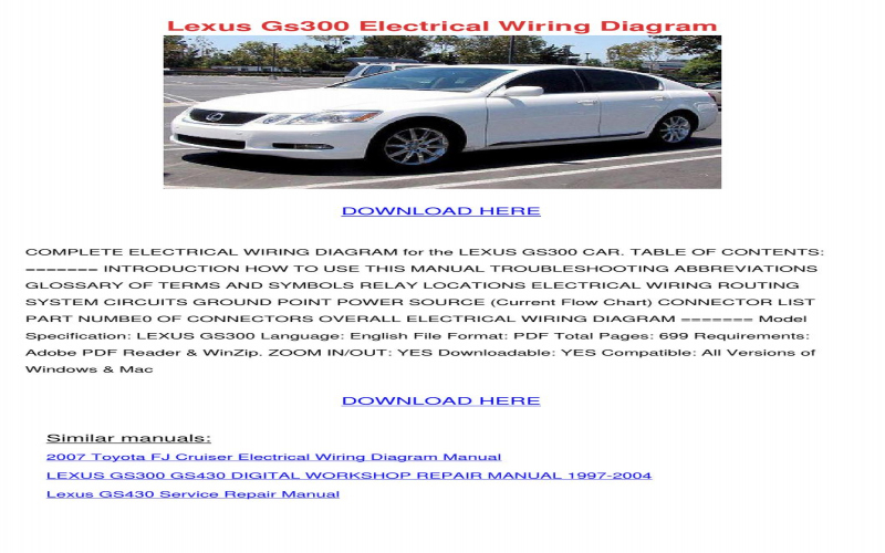 2000 Lexus Gs300 Owners Manual