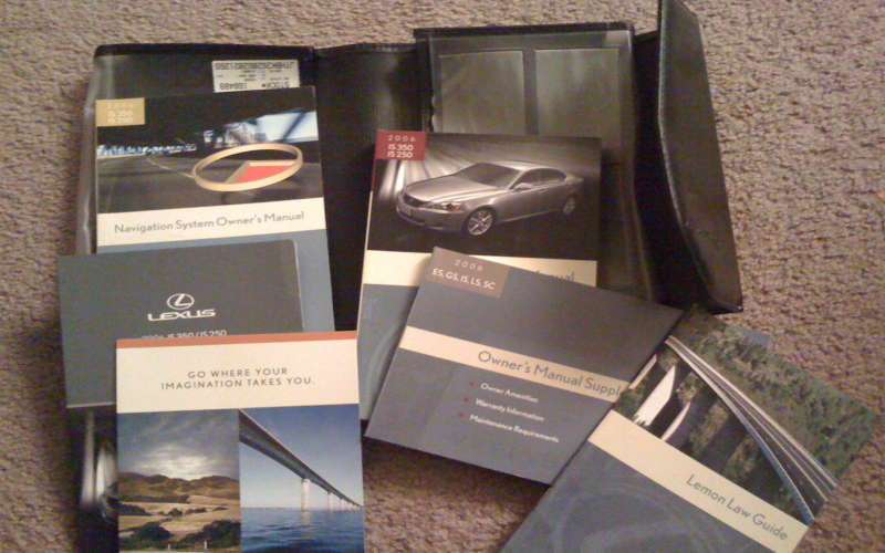 2006 Lexus Is 250 Owners Manual