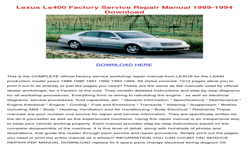 Lexus Ls400 Owners Manual