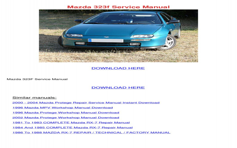 1998 Mazda Protege Owners Manual Pdf