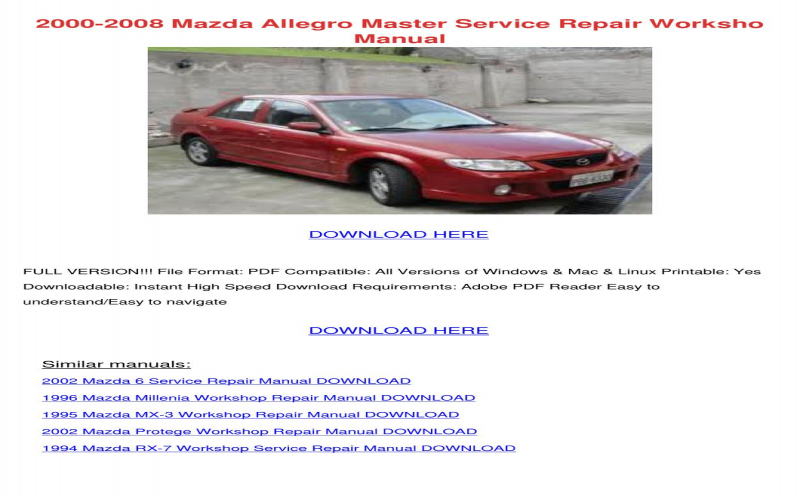 2000 Mazda Miata Owners Manual Pdf
