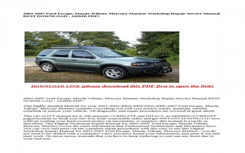 2001 Mazda Tribute Owners Manual Download