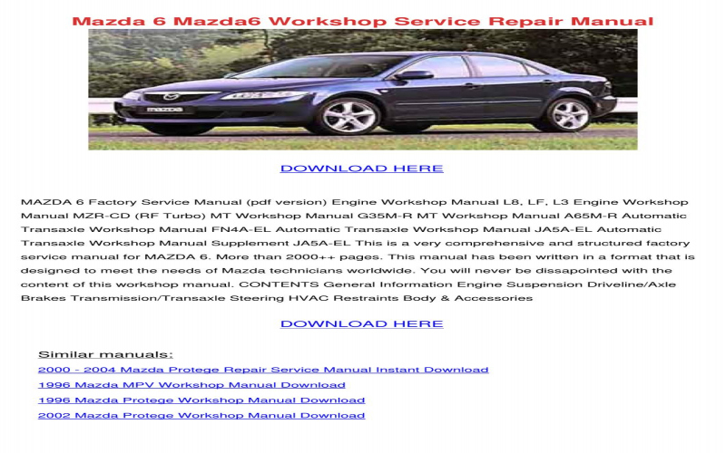 2002 Mazda Atenza Owners Manual Download