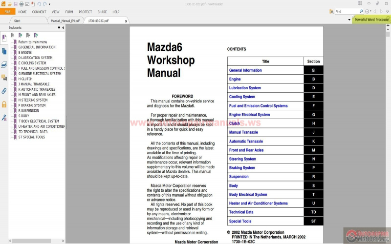 2006 Mazda 6s Owners Manual