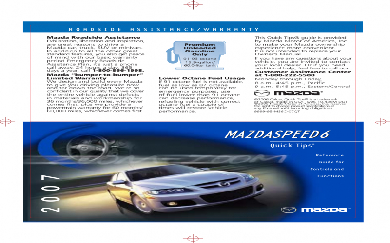 2007 Mazdaspeed 6 Owners Manual