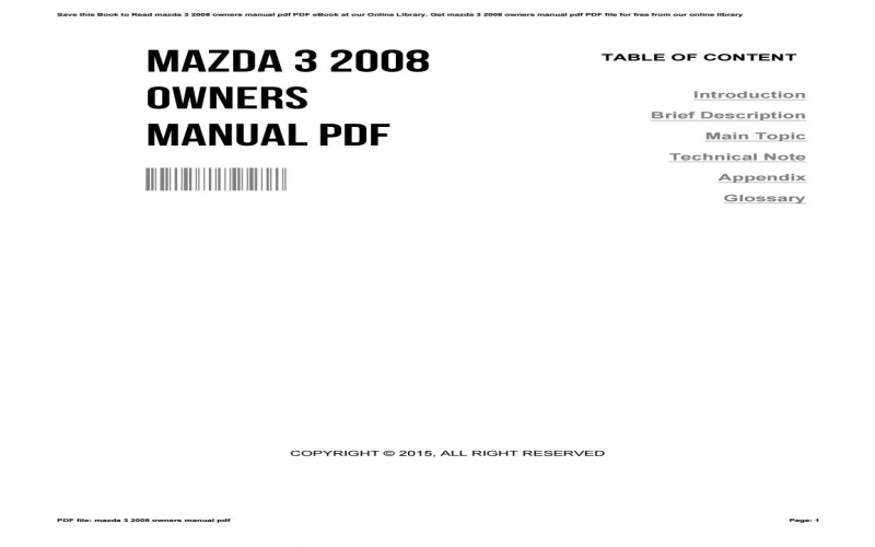 2008 Mazdaspeed 3 Owners Manual